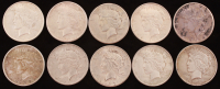 Lot of (10) 1921-1935 Peace Silver Dollars