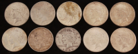 Lot of (10) 1921-1935 Peace Silver Dollars at PristineAuction.com
