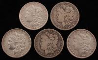 Lot of (5) 1889-1900 Morgan Silver Dollars