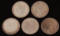 Lot of (5) 1879-1898 Morgan Silver Dollars