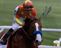 Mike E. Smith Signed Belmont Stakes 8x10 Photo (JSA COA & Sports Integrity Hologram)
