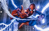 "Greg Horn Signed ""Spider-Man Lightning"" 11x17 Lithograph (JSA COA)"