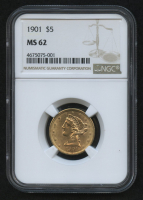 1901 $5 Five Dollars Liberty Head Half Eagle Gold Coin (NGC MS 62)