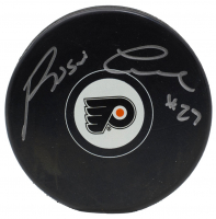 Reggie Leach Signed Philadelphia Flyers Logo Hockey Puck (JSA COA)