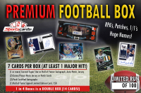"""Sportscards.com """"Premium Football Box"""" Live Break - RPA's, Patches, 1/1's! 7 to 14 CARDS! Box #1"""