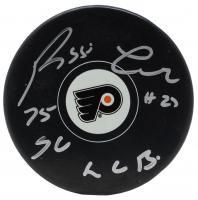 "Reggie Leach Signed Philadelphia Flyers Logo Hockey Puck Inscribed ""75 SC LCB"" (JSA COA)"