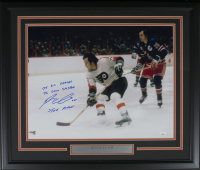 "Reggie Leach Signed Philadelphia Flyers 22x27 Custom Framed Photo Inscribed ""75 SC Champs,"" ""76 Conn Smythe"" & ""The Rifle"" (JSA COA)"