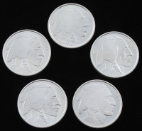 "Lot of (5) .999 Fine Silver ""Buffalo Nickel"" Bullion Rounds with (3) 1 Troy Ounce & (2) 1 Ounce"