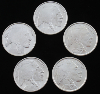 "Lot of (5) .999 Fine Silver ""Buffalo Nickel"" Bullion Rounds with (2) 1 Troy Ounce & (3) 1 Ounce"