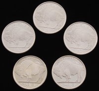 "Set of (5) 1oz .999 Fine Silver ""Indian/Buffalo Nickel"" Rounds with (3) 1 Troy Ounce & (2) 1 Ounce at PristineAuction.com"