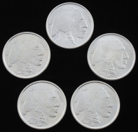 "Set of (5) 1oz .999 Fine Silver ""Indian/Buffalo Nickel"" Rounds with (1) 1 Troy Ounce & (4) 1 Ounce at PristineAuction.com"