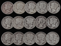 Lot of (15) 1936-1945 Mercury Silver Dimes at PristineAuction.com