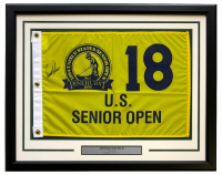 Arnold Palmer Signed US Senior Open 22x27 Custom Framed Golf Pin Flag Display (Beckett LOA) at PristineAuction.com