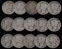 Lot of (15) 1919-1945 Mercury Silver Dimes at PristineAuction.com