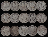 Lot of (15) 1919-1944 Mercury Silver Dimes at PristineAuction.com
