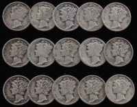 Lot of (15) 1917-1945 Mercury Silver Dimes at PristineAuction.com