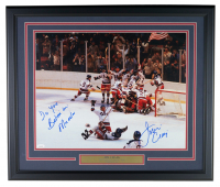 """Jim Craig Signed """"Miracle on Ice"""" Team USA 22x27 Custom Framed Photo Display Inscribed """"Do You Believe In Miracles"""" (JSA COA)"""
