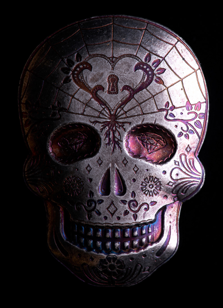 New 10 oz Monarch Silver Day of the Dead Heart Skull