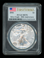 2016 American Silver Eagle $1 One Dollar Coin - First Strike, 30th Anniversary (PCGS MS70) (U.S. Flag Label)