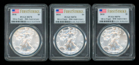 Lot of (3) 2016 American Silver Eagle $1 One Dollar Coins - First Strike, 30th Anniversary (PCGS MS70) (U.S. Flag Label)