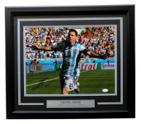 "Lionel Messi Signed Argentina 19x22 Custom Framed Photo Display Inscribed ""Leo"" (Icons COA & JSA COA) at PristineAuction.com"
