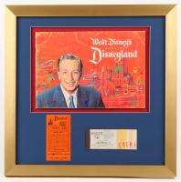 "1961 Original Walt Disney's ""Disneyland"" Guide 18x18 Custom Framed Display with Ticket Booklet & Parking Pass"