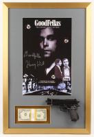 "Henry Hill Signed ""Goodfellas"" 19x28 Custom Framed Photo Display Inscribed ""Goodfella"" with Replica Gun & Stack of Prop Money (PSA COA)"