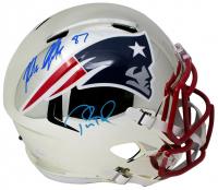 Tom Brady & Rob Gronkowski Signed New England Patriots Full-Size Chrome Speed Helmet (JSA COA & Tristar Hologram)
