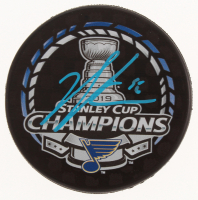 Jordan Binnington Signed St. Louis Blues 2019 Stanley Cup Champions Logo Hockey Puck (Beckett COA) at PristineAuction.com