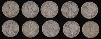 Lot of (10) 1942 Walking Liberty Silver Half Dollars