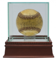 Babe Ruth Twice Signed 1942 War Bond Effort Exhibition Game ONL Baseball with High Quality Display Case Signed by (8) with Honus Wagner, Walter Johnson, Tris Speaker, George Sisler, Duffy Lewis, Eddie Collins & Red Murray (JSA LOA) at PristineAuction.com