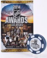 Patrice Bergeron Signed 2014 Las Vegas NHL Awards Logo Hockey Puck & Program (Bergeron COA)