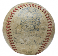 Babe Ruth, Lou Gehrig Signed 1934 Tour of Japan OAL Baseball with High-Quality Display Case Signed by (16) with Lefty O'Doul, Jimmie Foxx, Lefty Gomez, Ear Gehrig (PSA LOA) at PristineAuction.com