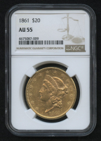 1861 $20 Liberty Double Eagle Gold Coin (NGC AU 55)
