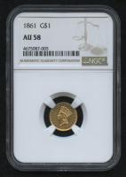 1861 $1 Indian Princess Gold Coin (NGC AU 58) at PristineAuction.com