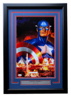 "Greg Horn Signed ""Captain America"" 17x25 Custom Framed Lithograph Display (JSA COA)"