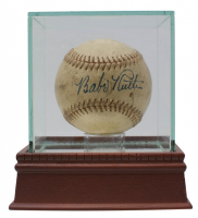 Babe Ruth Signed Baseball with High-Quality Display Case (PSA LOA- Autograph Graded PSA 8)
