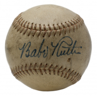Babe Ruth Signed Baseball with High-Quality Display Case (PSA LOA- Autograph Graded PSA 8) at PristineAuction.com
