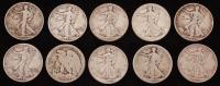 Lot of (10) 1916-1947 Walking Liberty Silver Half Dollars