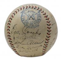 Babe Ruth, Lou Gehrig Signed 1933 New York Yankees OAL Baseball with High Quality Display Case Team-Signed by (21) with Bill Dickey, Red Ruffing, Joe Sewell, Earle Combs (JSA LOA & PSA LOA) at PristineAuction.com