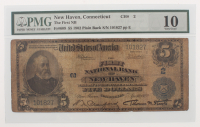 1902 $5 Five Dollars U.S. National Currency Large Bank Note - The First National Bank of New Haven, Connecticut (PMG 10)