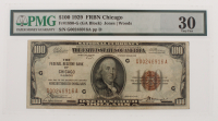 1929 $100 One Hundred Dollars U.S. National Currency Bank Note with Brown Seal - The Federal Reserve Bank of Chicago, Illinois (PMG 30) at PristineAuction.com