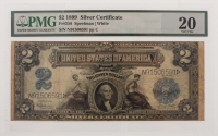 1899 $2 Two Dollars U.S. Silver Certificate Large Size Bank Note (PMG 20)