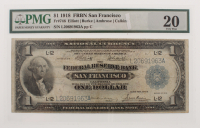 1918 $1 One Dollar U.S. National Currency Large Bank Note - The Federal Reserve Bank of San Francisco, California (PMG 20) at PristineAuction.com