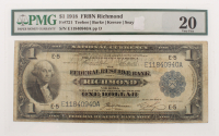 1918 $1 One Dollar U.S. National Currency Large Bank Note - The Federal Reserve Bank of Richmond, Virginia (PMG 20)