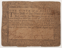 1776 One Ninth of a Dollar Maryland Colonial Currency Note