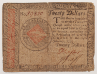 1779 $20 Twenty Dollars Continental Colonial Currency Note at PristineAuction.com