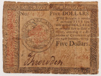 1779 $5 Five Dollars Continental Colonial Currency Note at PristineAuction.com