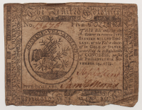 1775 $5 Five Dollars Continental Colonial Currency Note at PristineAuction.com