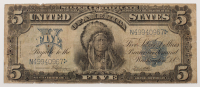 "1899 $5 Five Dollars ""Indian Chief"" Silver Certificate Large Size Bank Note"